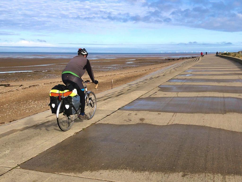 Cycling along coastal promendae from Heecham to Hunstanton